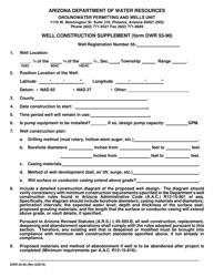 "Form DWR55-90 ""Well Construction Supplement"" - Arizona"