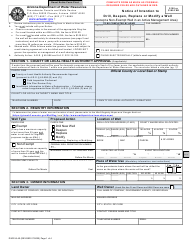 """Form DWR55-40 """"Notice of Intention to Drill, Deepen, Replace or Modify a Well"""" - Arizona"""