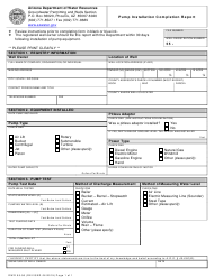 "Form DWR55-56 ""Pump Installation Completion Report"" - Arizona"