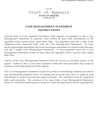 "Form 8 ""Case Management Statement"" - Arizona"