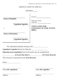 """Form 19 """"Stipulation for Extension of Time to File Brief"""" - Arizona"""