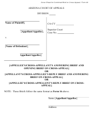 """Form 20 """"Cover Sheet for Combined Brief on Cross-appeal"""" - Arizona"""