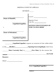 """Form 18 """"Motion for Extension of Time to File Brief"""" - Arizona"""