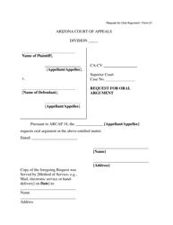 "Form 21 ""Request for Oral Argument"" - Arizona"
