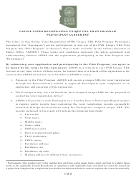 """""""Online Voter Registration Unique Url Pilot Program Participant Agreement"""" - Arizona"""