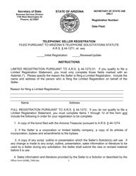 "Form SOSBS_TSRS ""Telephone Seller Registration"" - Arizona"