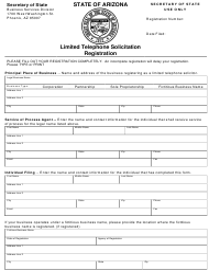 """Limited Telephone Solicitation Registration"" - Arizona"