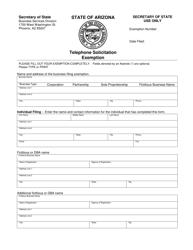 """""""Telephone Solicitation Exemption"""" - Arizona"""