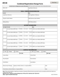 """Form AR-40 """"Combined Registration Change Form"""" - Arkansas"""