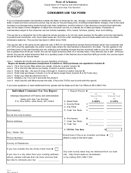 "Form CU-1 ""Consumer Use Tax Form"" - Arkansas"
