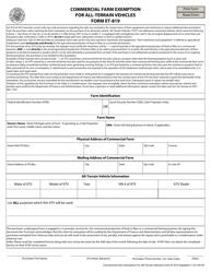 """Form ET-819 """"Commercial Farm Exemption for All-terrain Vehicles"""" - Arkansas"""