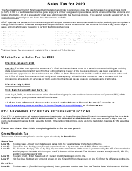 "Instructions for Form ET-1 ""Arkansas Excise Tax Return"" - Arkansas, 2020"