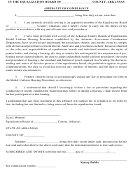 """""""Affidavit of Compliance"""" - Arkansas"""