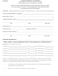 """Form DP-42 """"Application for Permission to Deliver Bulk Pesticides to a Dealer's Facility and Permission for the Dealer to Dispense Bulk Pesticides"""" - Arkansas"""