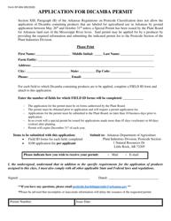 "Form DP-69A ""Application for Dicamba Permit"" - Arkansas"