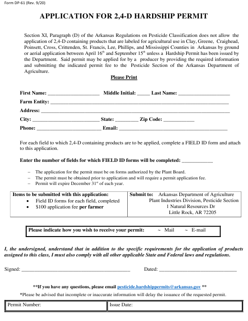Form DP-61 Printable Pdf