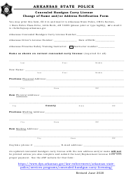 """""""Concealed Handgun Carry License Change of Name and/or Address Notification Form"""" - Arkansas"""