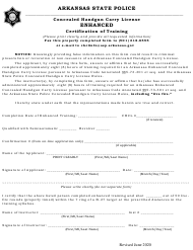 """Concealed Handgun Carry License Enhanced Certification of Training"" - Arkansas"