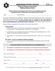 "Form ASP89B ""Physical Fitness Assessment Medical Release Form"" - Arkansas"