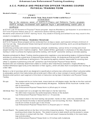 "Form ALETA-2 ""A.c.c. Parole and Probation Officer Training Course Physical Training Form"" - Arkansas"