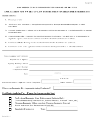 "Form F-8 ""Application for Award of Law Enforcement Instructor Certificate"" - Arkansas"