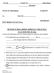 """Petition to Seal Arrest"" - Arkansas"
