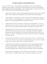 """""""User Rules of Behavior Acknowledgment Form"""""""
