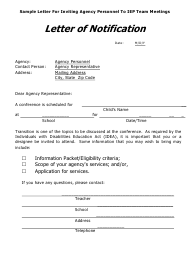 """""""Sample Letter for Inviting Agency Personnel to Iep Team Meetings"""" - Arkansas"""