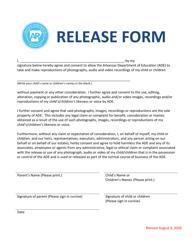 """Release Form - Child"" - Arkansas"