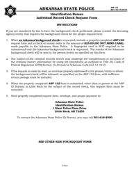 "Form ASP122 ""Individual Record Check Request Form"" - Arkansas"