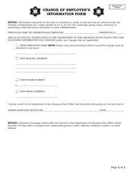 """Change of Employee's Information Form"" - Arkansas"