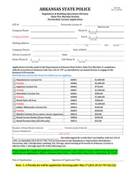 "Form ASP106 ""Pyrotechnic License Application"" - Arkansas"