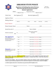 "Form ASP106-A ""Shooter Application"" - Arkansas"