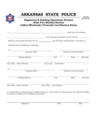 "Form ASP204 ""Jobber/Wholesaler Fireworks Certification Notice"" - Arkansas"