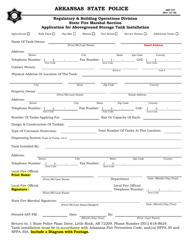 "Form ASP-147 ""Application for Aboveground Storage Tank Installation"" - Arkansas"