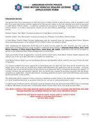 """""""Used Motor Vehicle Dealer License Application Form"""" - Arkansas"""