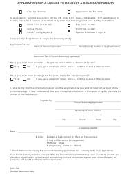 """Form DHR-740 """"Application for a License to Conduct a Child Care Facility"""" - Alabama"""