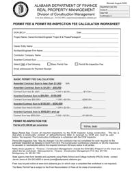 """Permit Fee & Permit Re-inspection Fee Calculaton Worksheet"" - Alabama"