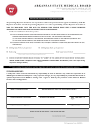 """Physician Assistant Supervision Form"" - Arkansas"