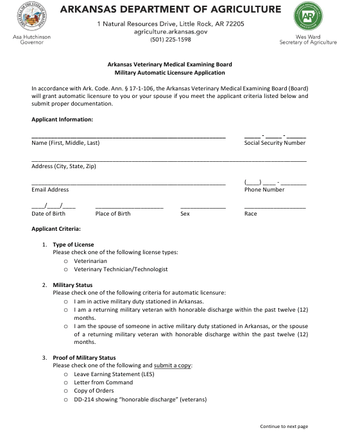 """Military Automatic Licensure Application"" - Arkansas Download Pdf"