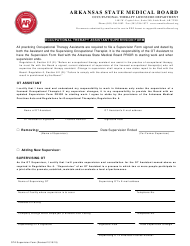 """Occupational Therapy Assistant Supervision Form"" - Arkansas"