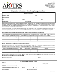 "Form 4 ""Disposition of Residue - Beneficiary Designation Form"" - Arkansas"