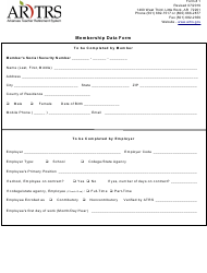 "Form 1 ""Membership Data Form"" - Arkansas"