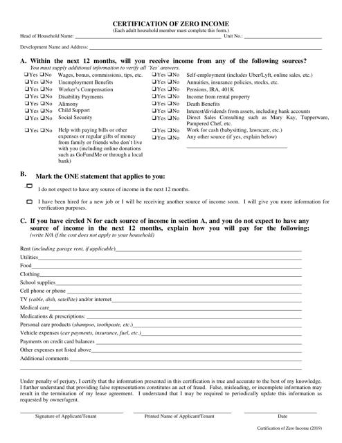"""Certification of Zero Income"" - New York Download Pdf"