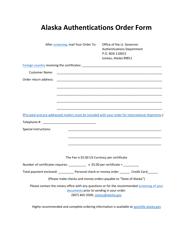 """Alaska Authentications Order Form"" - Alaska"