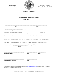 """Affidavit for Reimbursement"" - Arkansas"