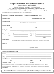 """""""Application for a Business License and Information Sheet With the State of Arkansas Towing & Recovery Board"""" - Arkansas"""