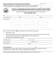 """Vehicle Immobilization Device Inspection Form"" - Arkansas"