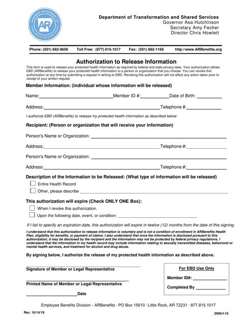 """Authorization to Release Information"" - Arkansas Download Pdf"