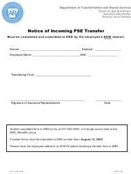 """Notice of Incoming Pse Transfer"" - Arkansas"